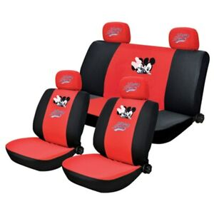 Mickey Minnie Mouse Car Seat Cover Auto Universal Fit Cartoon Front Back Fullset