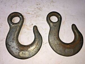 Vintage Pair Of Matching 7 16 Ht Hooks Heavy Duty Lifting Rigging Pulley Towing