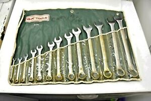 Vtg S k Combination Wrench Set No 1713 13 Piece Sae 1 4 To 1 Inch W roll