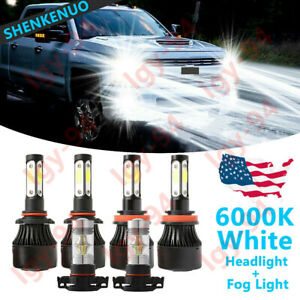For Gmc Sierra 1500 2500 2007 2013 4side 9005 H11 5202 Led Headlight Fog Bulb 6x