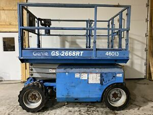 2006 Genie Gs 2668 Rt Rough Terrain 4x4 Scissor Lift Up 26ft Kubota Diesel