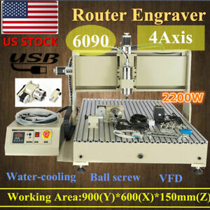 Usb 6090z 4 Axis Cnc Router Engraver 2200w Vfd Carving Drilling Milling Machine