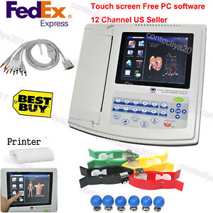 Touch Screen 12 channel 12 Leads Ecg Ekg Machine With Printer software us Seller