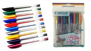100x Hauser Bling Glitter Gel Pen 10 Multi color 0 7mm Smooth Writing School