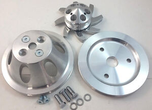 Sb Chevy Sbc 1 Groove Belt Aluminum Pulley Kit Swp Short Water Pump 283 327 350