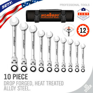 10pcs Flex Head Ratcheting Combination Wrench Set 8 22mm Duo Metric Portable Bag