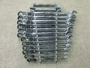 12 Piece Gear Wrench Metric Open End Flexible Box End Ratcheting Tool Set