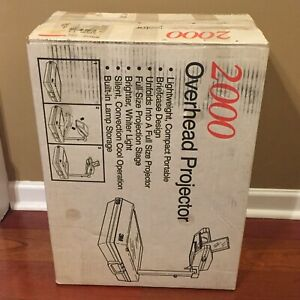 3m 2000 Portable Briefcase style Overhead Projector Lamp W Good Bulb