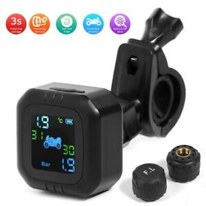 Wireless Motorcycle Tpms Tire Pressure Monitor System With 2 External Sensor