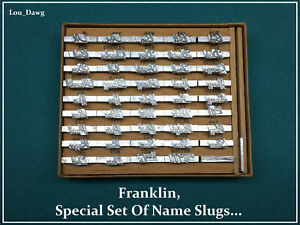 Franklin Signet 18pt special Set Of Name Slugs Hot Foil Stamping Machine