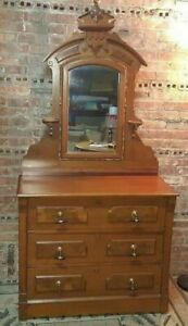Vintage Victorian Eastlake Vanity Dresser Chest Of Drawers W Attached Mirror
