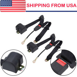 2 Universal 3 Point Retractable Auto Car Seat Belt Lap Shoulder Adjustable U S