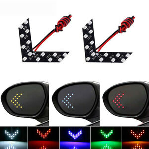 2x Car Auto Side Rear View Mirror 14 Smd Led Lamp Turn Signal Lights 5 Colors