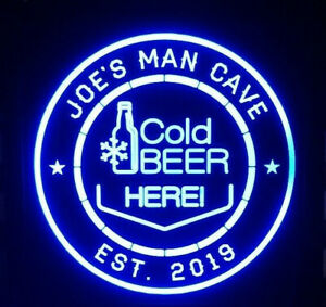 Cold Beer Led Sign Personalized Home Bar Pub Sign Lighted Sign