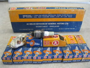 Nos 44s Ac Spark Plugs Fire Ring Box Of 10 Collector Item Made In England