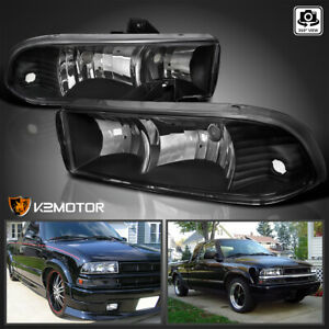 For 1998 2004 Chevy S10 Blazer Pickup Black Headlights Lights Lamps Left Right