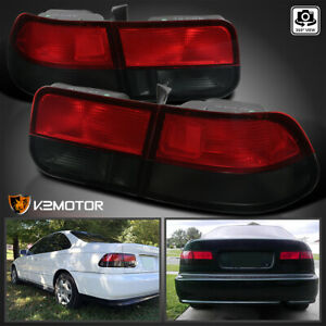 For 1996 2000 Honda Civic Coupe Red Smoke 2dr Tail Lights Rear Brake Lamps Pair