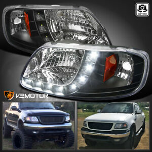 For 1997 2003 Ford F150 1pc Style Black Led Strip Lamps Headlights L R 97 03
