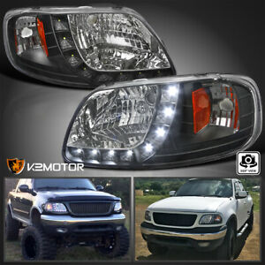 For 1997 2004 Ford F150 F 150 Led Drl Strip Black 1pc Style Headlights Pair