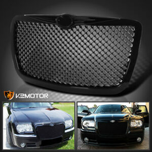 For 2005 2010 Chrysler 300 300c Poilshed Black Front Mesh Hood Grill Grille