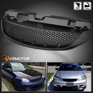 For 2004 2005 Honda Civic 2dr Coupe 4dr Sedan Black Front Bumper Hood Grille