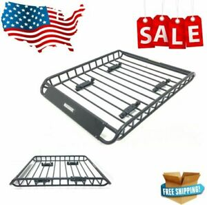 Maxxhaul 70115 Universal Steel Roof Rack Car Top Cargo Carrier Basket 150 Lb New
