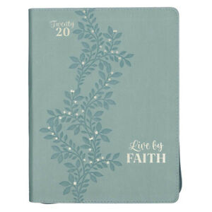 Live By Faith Seafoam Green Large Faux Leather Zippered Daily Planner For 2020