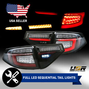 Black Sequential Signal Led Bar Tail Lights For 08 11 Impreza 08 14 Wrx 3d 5d