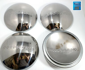 1940 Ford Deluxe Logo Stainless Wheel Hubcap 40 Set Of 4 Hubcaps 8 3 16 Flange