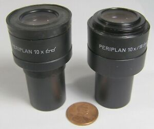 Leitz Wetzlar Microscope Eyepieces Periplan 10x 18 2 Count Missing One Cap