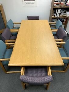 14 Piece Oak Conference Table And Chair Set