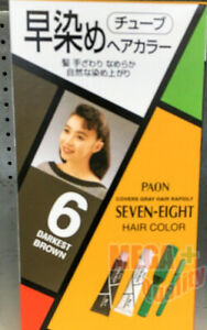 PAON SEVEN EIGHT Hair Dye Color Cream Fast Cover Grey Coverage #6 Darkest Brown $17.96