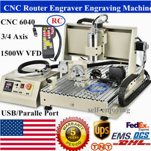 6040 Usb parallel 3 4axis Cnc Router Engraver 1500w Vfd Drilling Milling Machine
