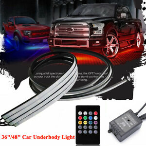 36 48 Led Rgb Strip Under Car Tube Underglow Underbody System Neon Light Usa