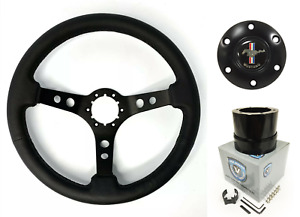14 Black Steering Wheel W Pony Horn Button Adapter For 1964 66 Ford Mustang