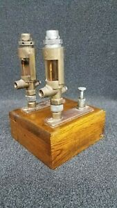 Antique Steam Engine Force Feed Lubricators 2 Mounted To Oak Base mccord