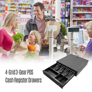 4 Bill 3 Coin Cash Register Drawer Box Works Compatible Tray Pos Printers V5q4