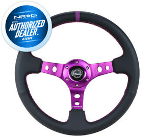 New Nrg Deep Dish Steering Wheel 350mm Leather Purple Stitch And Mark Rst 006pp