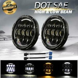 Dot 7 Inch Round Led Headlights Halo Projector Hi lo Beam For Hummer H1 H2 Jeep