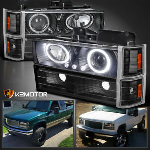 For 94 98 Chevy C10 C k Tahoe Black Halo Projector Headlights corner Bumper Lamp