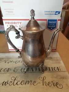 Vintage Leonard Silver Plated Ornate Footed Teapot Coffee Pot