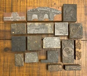 Vintage Wooden Type Letterpress Blocks X17 Auto Holidays St Louis Misc