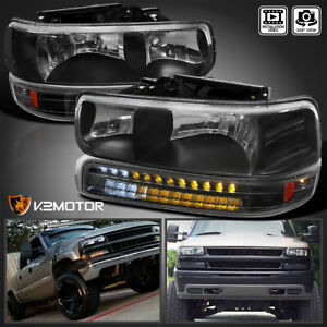 For 1999 2002 Chevy Silverado 00 06 Suburban Black Headlights led Bumper Lamps