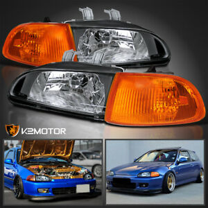 For 1992 1995 Honda Civic 2dr 3dr Eg Eh Ej Black Headlights Corner Lights 4pc