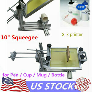 Cylinder Screen Printing Machine 10 Squeegee For Pen Cup Mug Bottle New