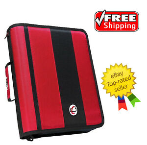 Case it Classic O ring Zipper Binder Red 2 Inches Free Shipping