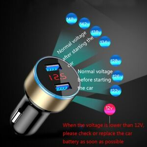 Usb Car Cigarette Phone Charger Lighter Digital Led Voltmeter Accessories 3 1a