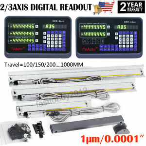2 3axis Digital Readout Dro Display 1 m Ttl Linear Glass Scale For M