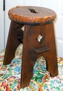 Antique Arts Crafts Oak Stool Bench Table Liberty Co
