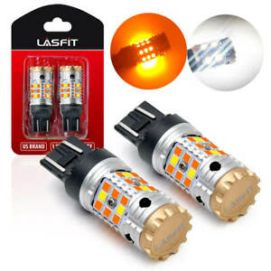 Switchback Led Turn Signal Drl Parking Light Bulbs Lamps Dual Color 7443 7444 2x